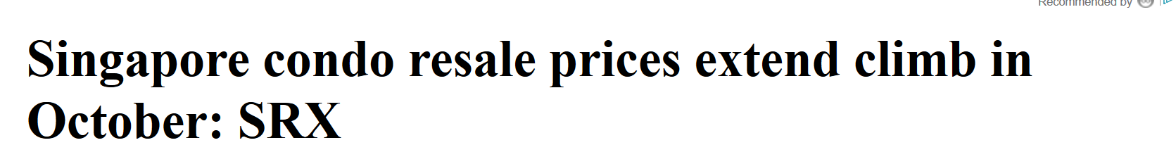 Singapore condo resale prices extend climb in October SRX