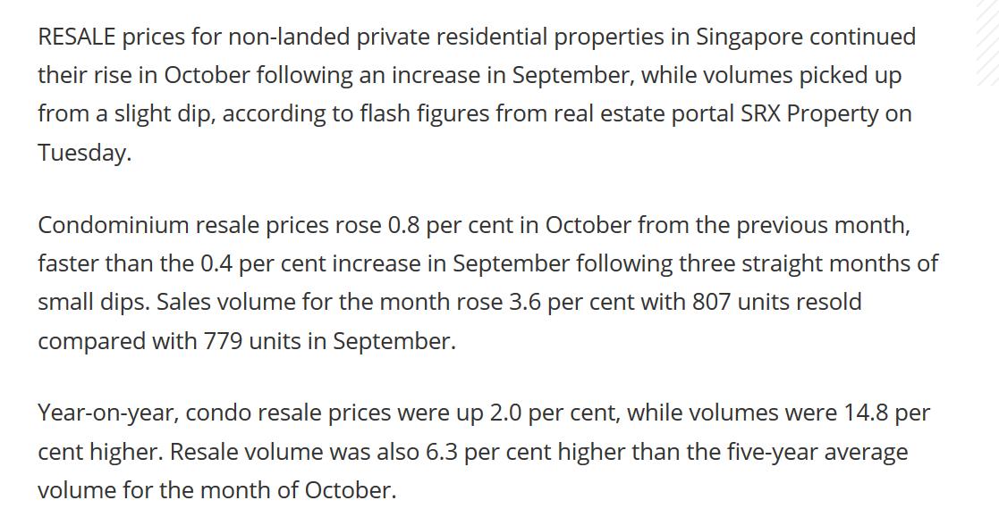 Singapore condo resale prices extend climb in October SRX(3)