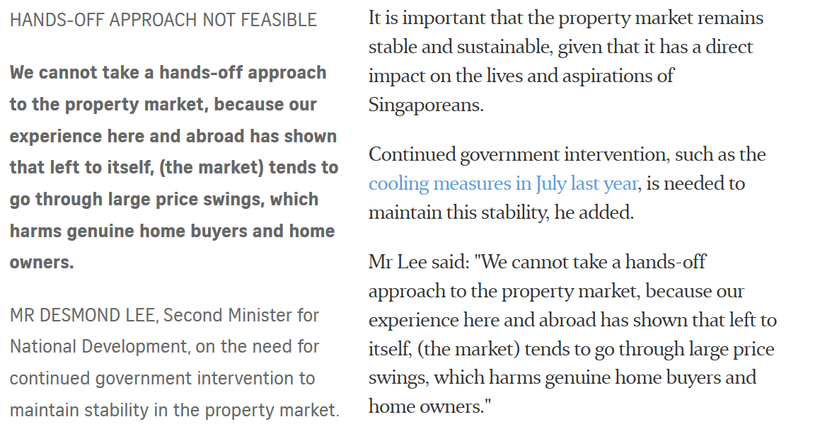 Straits Times Report: Property Market Stable But Faces Risks: Desmond Lee